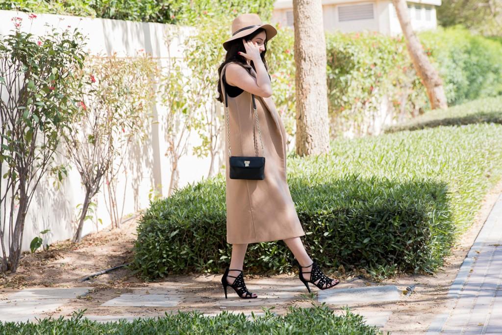 Camel Coat, Calvin Klein Bag, BCBG heels, Camel Fedora