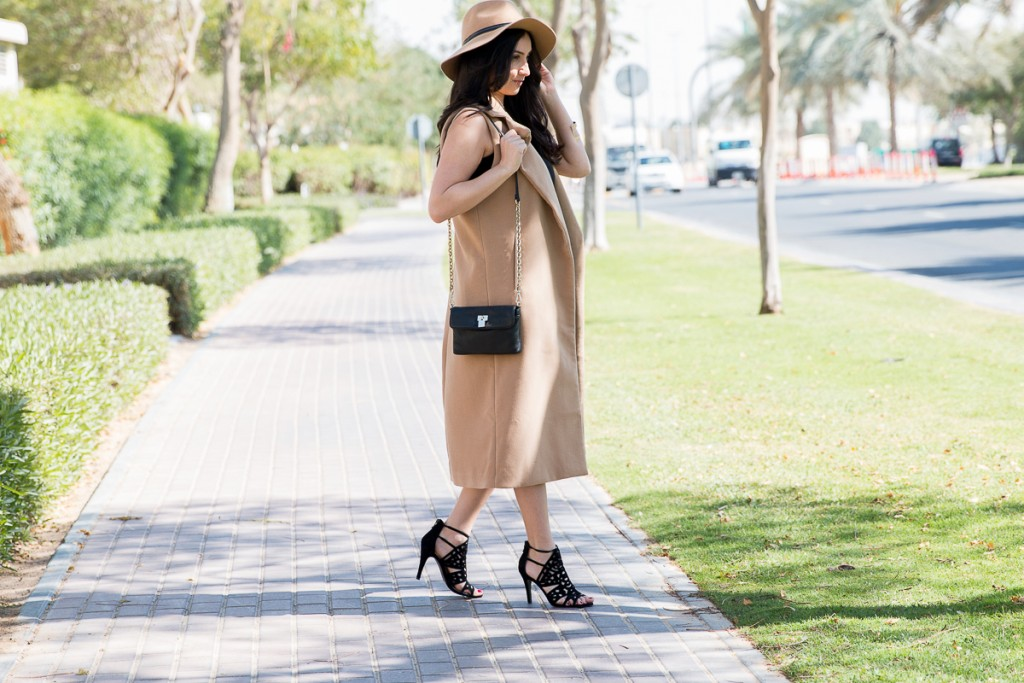 Camel Coat, Gold Belt, Caged Heels