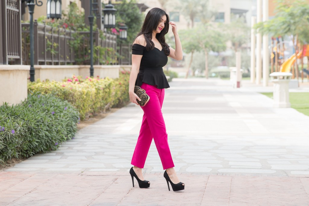 Hot Pink, Black, Peplum, Lace, Zara