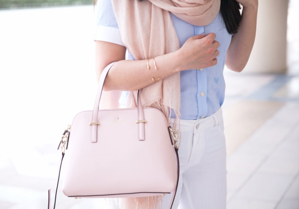 Blush Scarf, Blue button down, white jeans