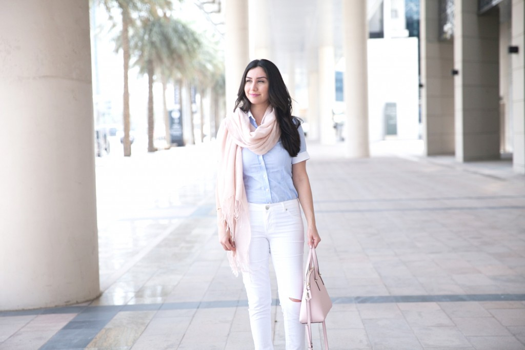 Blush Scarf, White Ripped Jeans