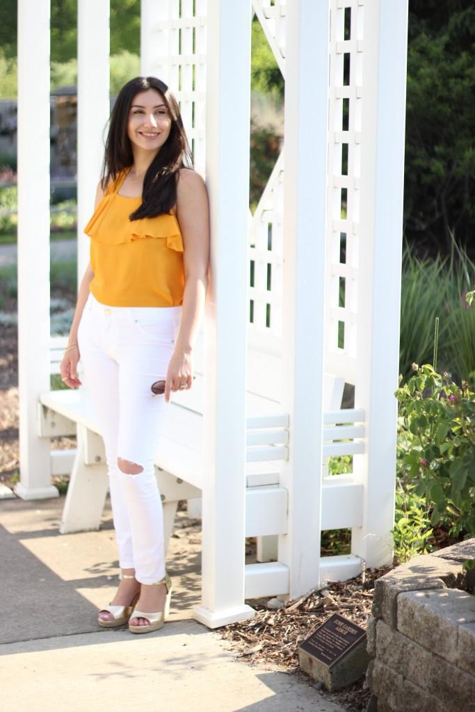 Zara, Mustard Top, White Jeans