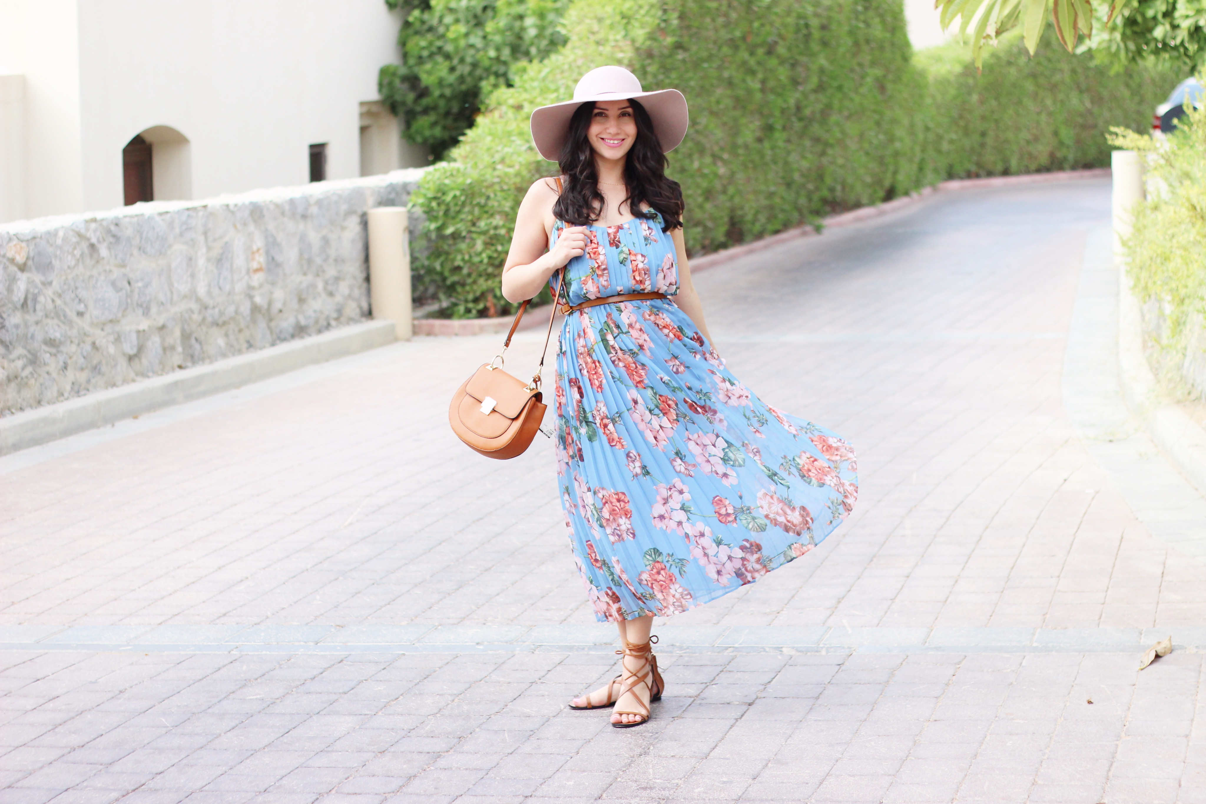 Blue Pleated Midi
