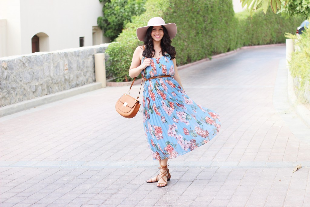 Blue, Floral dress, midi, dubai