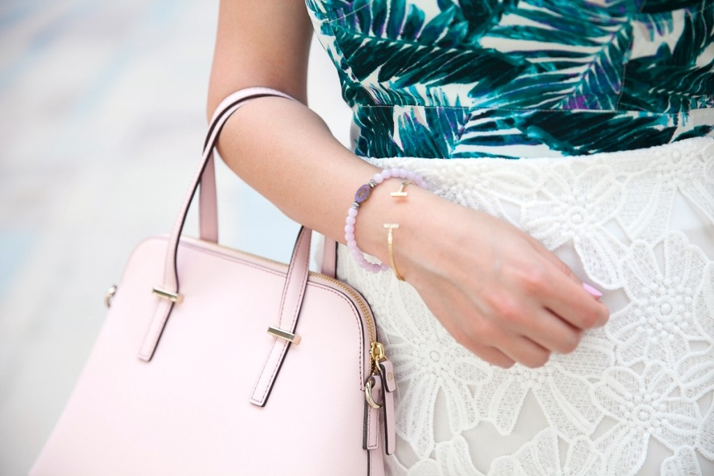 Palm Print and Pink Bag