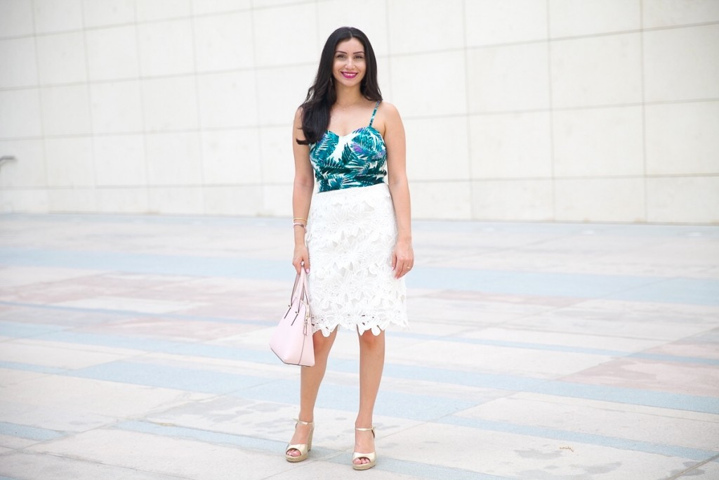 Palm Print and White Skirt