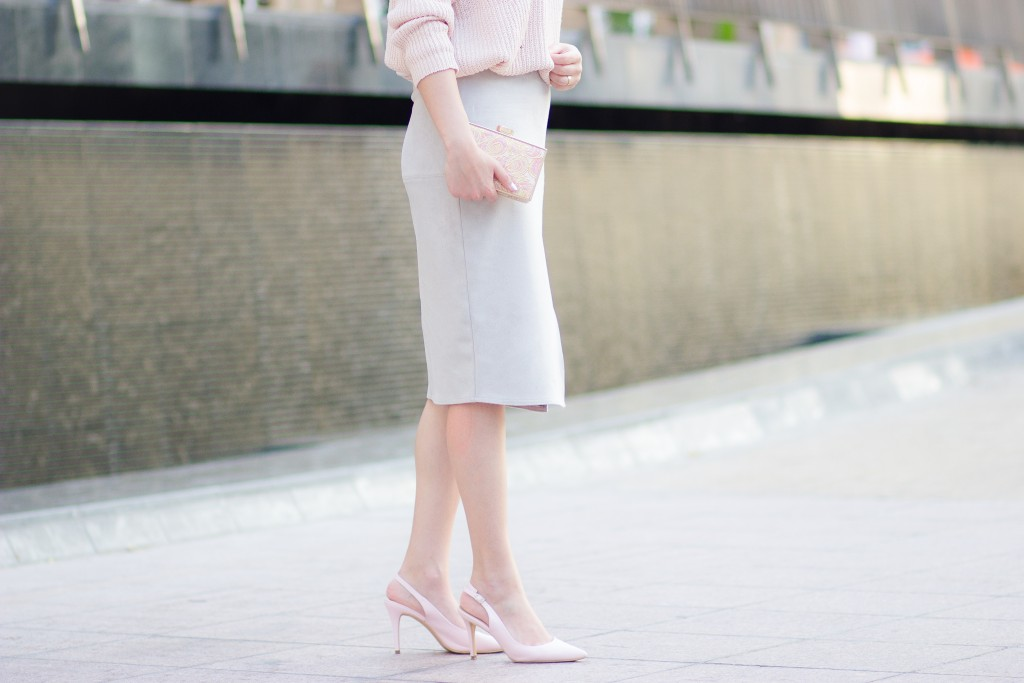 Grey Suede Pencil Skirt