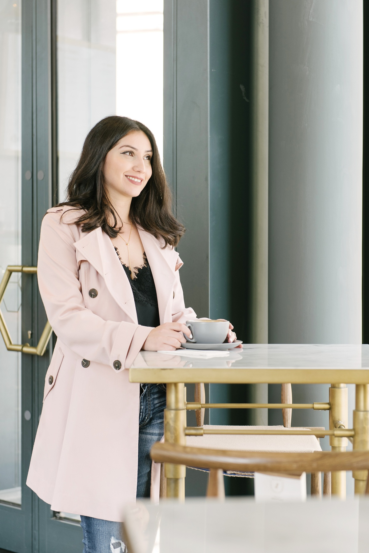 Blush Pink Trench Coat for Fall