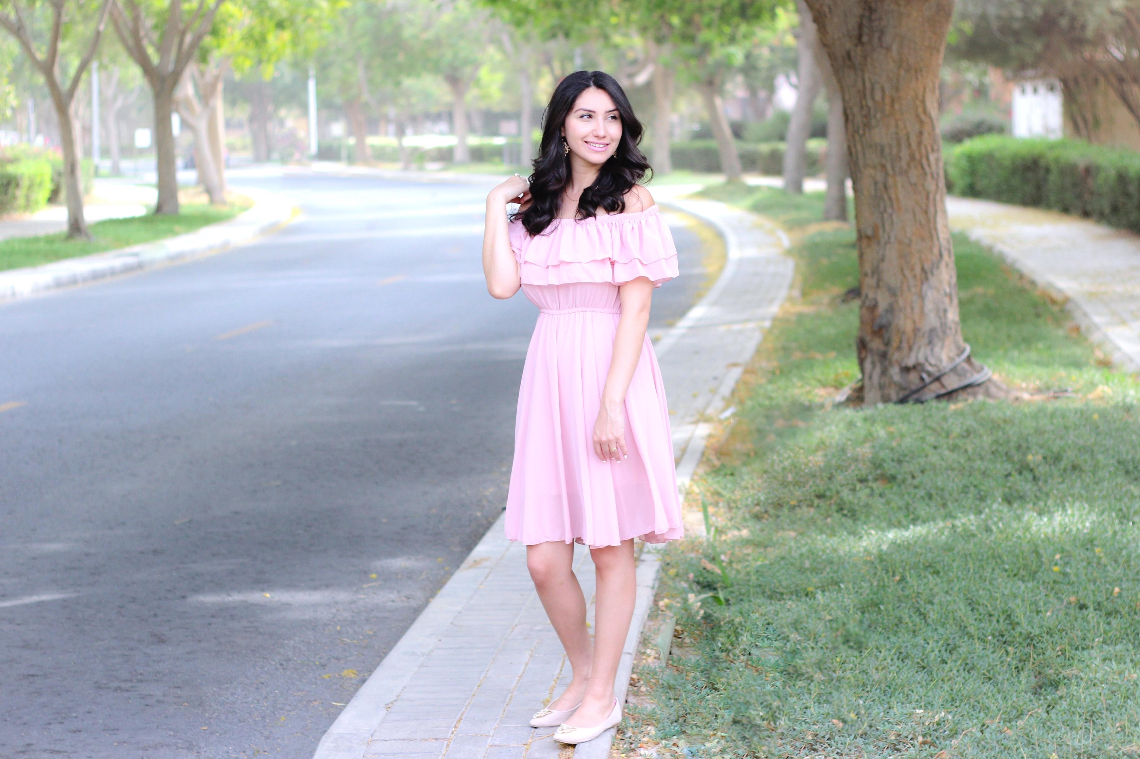 Off-shoulder Pink Dress